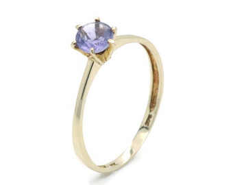 Solitaire Amethyst Ring, Purple Amethyst Ring, Gold Amethyst Ring, Women's Amethyst Ring, Women's Gold Ring, Yellow Gold Amethyst