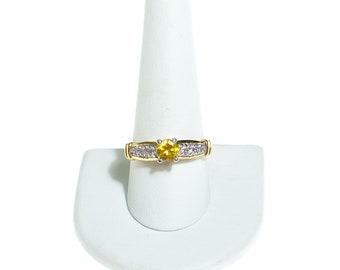 Vintage Citrine Solitaire Cocktail Ring with Pave CZ Accents