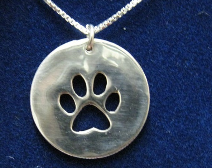 Paw Print Necklace from old US Silver Quarter