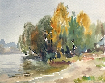 Autumn on the Dnieper River - Soviet Vintage Watercolor Painting - Original