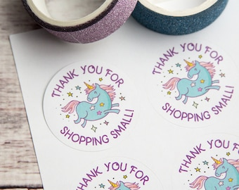 Thank you for shopping small - Unicorn Stickers - Unicorn Labels - Small Business Packaging 1.5 inch circle - 30 Pieces