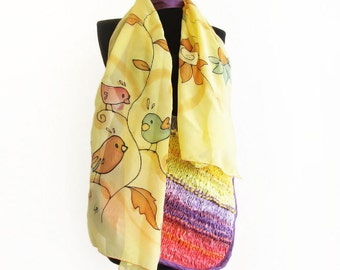 Yellow long scarf with cute birds and flowers. Hand paint natural silk chiffon scarf with birds design. Unique art scarf hand painted.