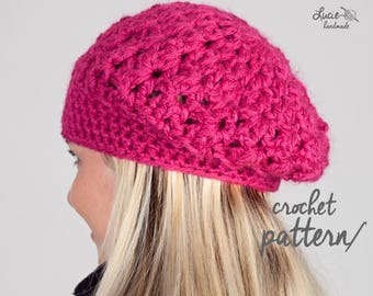 Crochet Hat PATTERN No.17 - Uni Women beret, Winter Crochet Pattern, Winter Crochet Hat