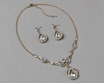 Gold Bridal Jewelry Set, Wedding Jewelry Set, Gold Rhinestone Jewelry Set, Gold Vintage Set, Wedding Accessories, Vintage Set ~JS-600