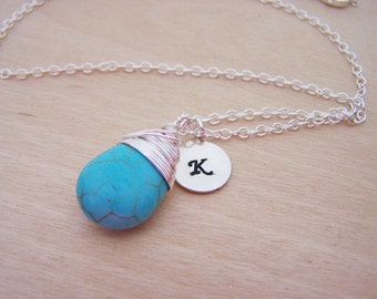 Wire Wrapped Turquoise Briolette Sterling Silver Initial Stamped Necklace / Gift for Her