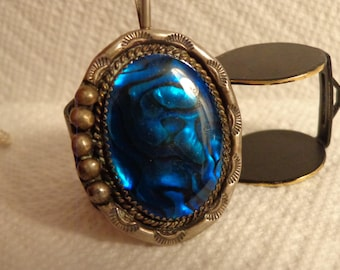 """Sterling Silver Blue Green Paua Shell Pendant by Very Jake on a 24"""" Rope Signed with a V"""