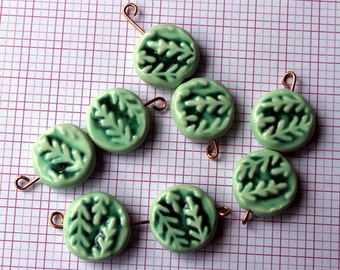 2 Tree Sprig Coin Beads - Handmade Ceramic Art Beads