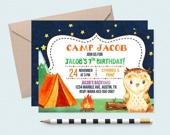 Camping Birthday Invitation, Camping Invitation, Camping Theme Birthday, Camping Invitations, Camping Birthday Party, Camping Birthday, Camp