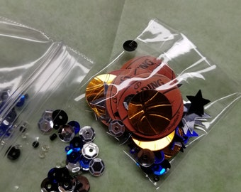 Basketball-Themed-Sequin Mix-Travelers Notebook Dashboard-Shaker Card-Shaker ATC-Embellishments-Embossed-Kit-Bundle-Glass Beads