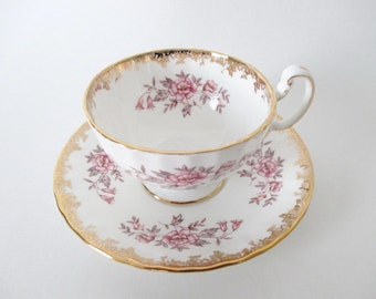 Cup and Saucer Tea Cup Aynsley Pink Flowers Gold Gilt