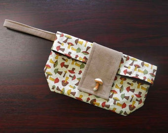 Vintage Mushrooms Chic Foldover Wristlet Clutch SALE