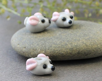 Little Mouse Lampwork Beads, Lampwork Animal Bead, Handmade Artisan Glass Beads, Lampwork Mouse Beads, Lampwork Glass Beads, Lampwork, Glass