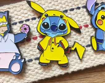 Mashup Stitch Enamel Pin - Pikachu Enamel Pin - Enamel Hat Pin - Enamel Lapel Pin