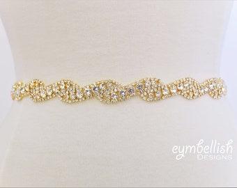 Thin Gold Wedding Belt with clasp- Full Length Gold Bridal Belt- Rhinestone Hair Band- Bridesmaids Belt- Bridal Sash Crystal Belt- EYM B040