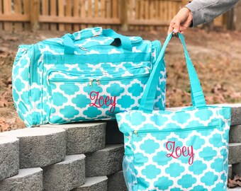 Aqua Duffle Bag, Monogrammed Weekender Set, Personalized Duffle Bag, Canvas Travel Set, Monogramed Duffle Bag, Monogrammed Overnight Bag