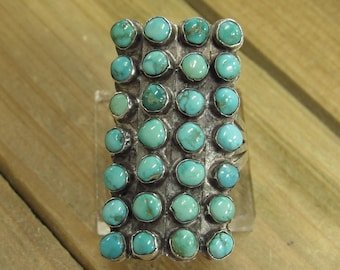 Vintage Sterling Silver Turquoise Ring Size 12