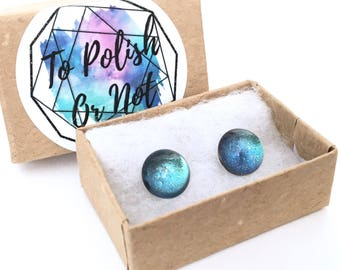 Ocean Stud Earrings. Surgical steel posts anti-tarnish, hypoallergenic. Sealed design is hand painted with a color changing effect