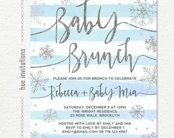 snowflake baby shower brunch invitation boy or girl, winter baby shower invitation, blue stripes silver glitter printable digital file