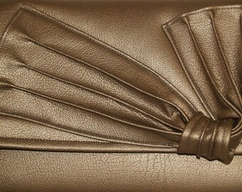 "Silver Metallic Vegan Envelope Handbag with Pleated ""Bow"""