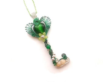 Skeleton Key, Wire Wrapped Green And Silver Glass Heart Bead Skeleton Key Pendant, Wire Wrapped Jewelry,  Handmade Wire Weaved Jewellery