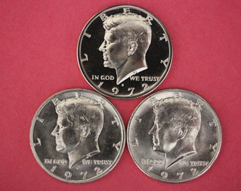 1972 P D S Proof & Brilliant Uncirculated John Kennedy Half Dollars From Proof and Mint Sets 2.99 Flat Rate Shipping