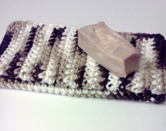 Dish Cloth, Wash Cloth, Facial Cloth, Cotton Dish Cloth, Crochet Dish Cloth, set of 2 in Brown and White