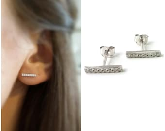 Features Stud Earrings Silver 925/000 - related set CZ - bar earrings - stick earrings 925 silver