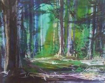 Wood, ink landscape pastel painting