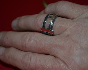 A Sterling Silver Oxidised Mans statement Ring from my Industrial collection. Rugged Hand Made