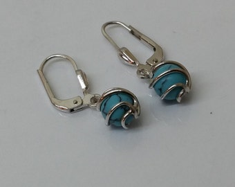 Earrings Silver 925 turquoise balls SO213