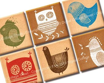 Digital Collage Sheet Whimsical Birds 1x1 inch squares for magnets, scrapbooks, pendants. Digital download printables. Birds images.