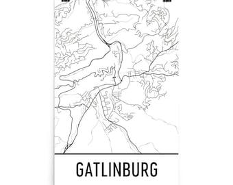 Gatlinburg Map, Gatlinburg Art, Gatlinburg Print, Gatlinburg TN Poster, Gatlinburg Wall Art, Map of Gatlinburg, Gatlinburg Gift, Decor, Map