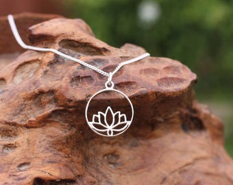 Silver Lotus Flower Necklace, Yoga Pendant Necklace, sterling silver