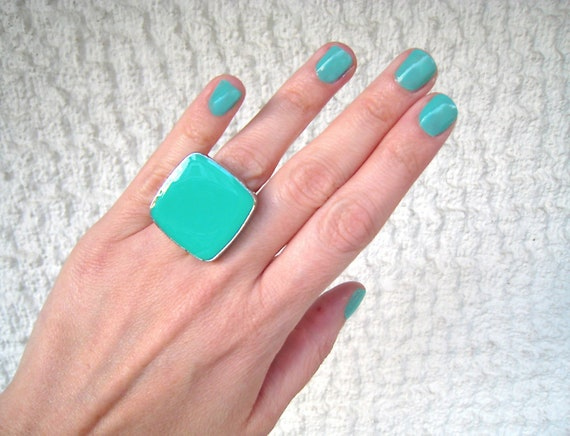 Light green ring, mint green resin ring, green glass ring, big chunky square ring, color block jewelry, modern minimalist, stainless steel