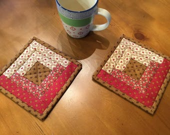 Log Cabin Mug Rugs / Quilted Mug Rugs / Country Decor / Farmhouse Decor / Handmade / Item #2273