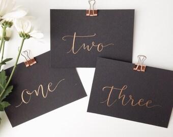 Table Numbers // Metallic Ink  // Modern Calligraphy // Black