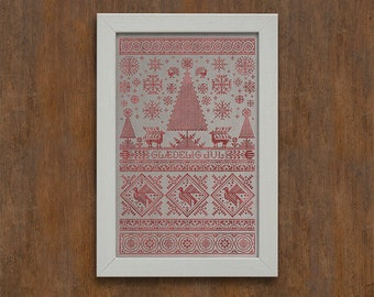 INSTANT DOWNLOAD Scandinavian Christmas Sampler PDF cross stitch patterns by Modern Folk monochromatic Winter December tree