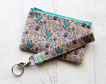 Cactus lovers gift set  - cactus keychain - cactus bag - cactus zipper pouch - cacti - cactus wallet - pink key fob wristlet