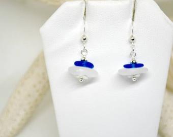 Sterling Sea Glass Earrings, Beach Sea Glass Earrings, Sea Glass Jewelry, Lake Erie Beach Glass, Mermaid Earrings