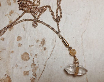 Gold Banded Horizontal Crystal Quartz Necklace