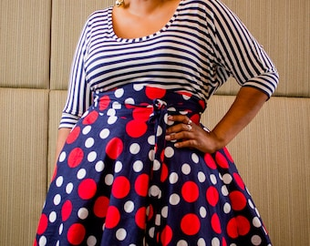 "Plus Size Midi Skirt Navy Red and White Polka Dot plus size High Waist / plus size  2 - 24 ) 30"" L"