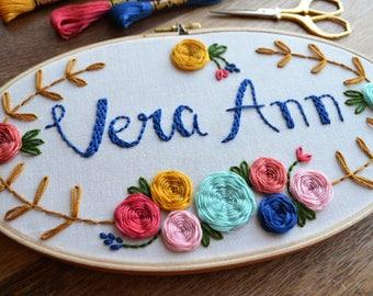 Custom Name - Hand Embroidery Hoop Art - Oval Hoop - Custom Baby Girl Gift - Floral - Embroidery Art - Gift for Baby - Custom Nursery Decor