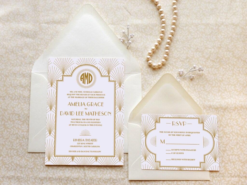 The Charleston Art Deco Printable Wedding Invitations 1920s
