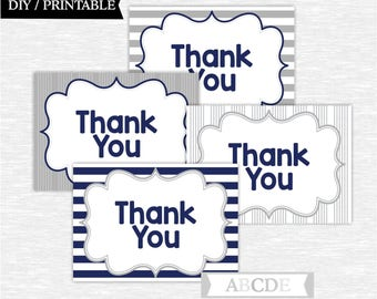 Instant Download Grey and Navy Nautical Party Thank You cards Thank You notes Birthday party Baby shower DIY Printable (SWN103)