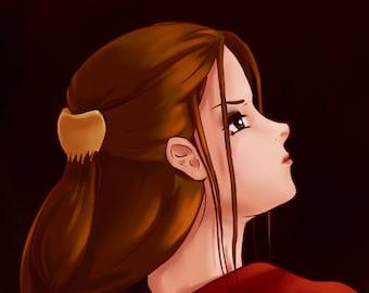 Original Anime and Manga Print with Red Chrysanthemum Kimono - Looking Back