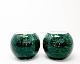 Small Green Bowls // Set of Two // Hand Painted Glass