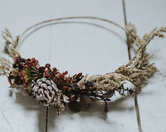 Wheat and Maroon Flower Crown