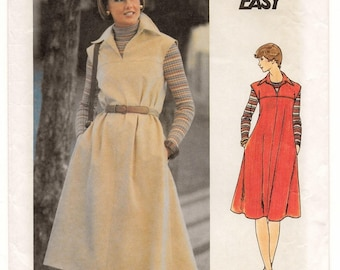 "An Extended Shoulder, Side Seam Pocket, Loose A-Line Pullover Dress / Jumper Sewing Pattern for Women: Size 12, Bust 34"" • Butterick 4948"