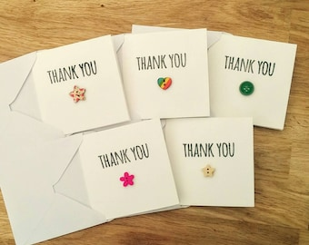 Pack of 5 handmade thank you cards