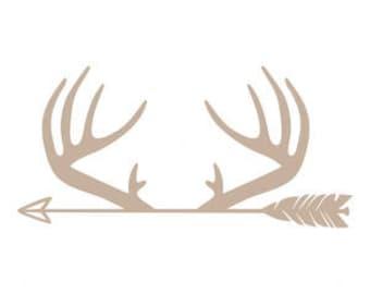 Deer Horns with Arrow Decal, Car Decal, Truck Decal, Tumbler Decal, YETI, RTIC, Colster Decal, Decal Gifts